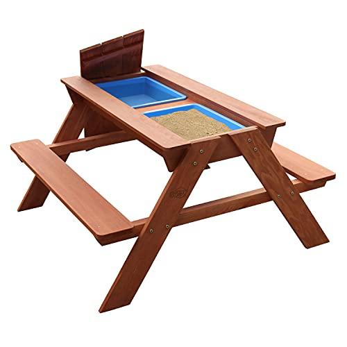AXI Dave Kinder Sand & Wasser Picknicktisch aus Holz | Wasserspieltisch & Sandtisch mit Deckel und Behältern | Kindertisch / Matschtisch in Braun für den Garten