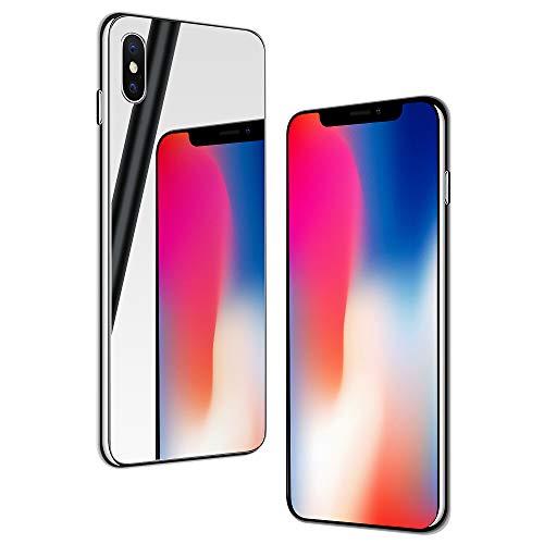 NALIA Funda Espejo Compatible con iPhone X/XS, Mirror Hard-Case in 9H Vidrio Templado & Silicona Bumper, Delgado Carcasa Rigida Cover Resistente Telefono Movil Proteccion, Color:Plata