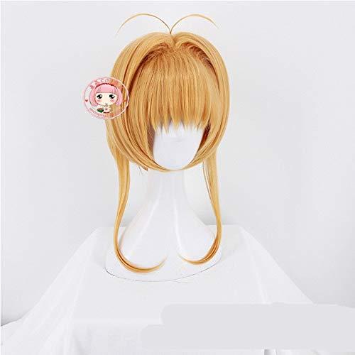 Classic Japanese Anime Card Captor Magic Girl Sakura Brownwig Comic-con Cosplay Skura blonde hair wig costumes One Size blonde