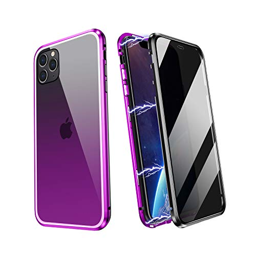 YUNQE Compatible with iPhone 11 Pro Max Case,Screen Protector Free Anti Peep Magnetic Phone Case Luxury Double Sided Protective Hard Cover Metal Frame with Camera Lens Full Body Protection,Purple