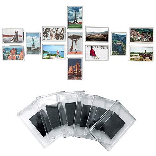 Set de 50 Marcos de Fotos en Blanco con Imán para Refrigerador por Kurtzy - Marcos Acrílico Transparente con Inserto Para Foto de Tamaño 7cm x 4,5cm- Fotos Familiares, Trabajos de Arte y Diversión Niños