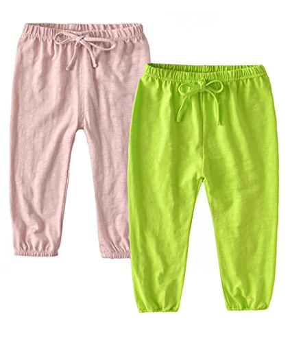 HUAER\& Unisex Baby Boys Girls Casual Pants Anti-Mosquito Pants (4T(110cm /43 inch, Light Pink -2 and Light Green)