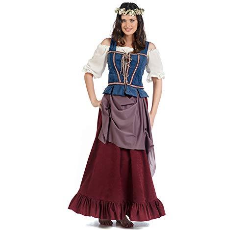 Limit Disfraz de Mujer Edad Media Posadero Magd Magdalena Vestido de Bata histórica Carnaval (S)