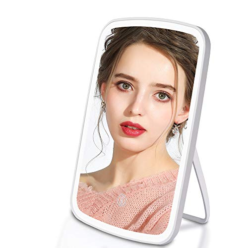 Makeup Mirror, RUEOO Light up Mirror with 3 Color Light Settings Dimmable True Natural, USB Rechargeable Touch Screen Portable Vanity Mirror, Light up Mirror for Light Best Gift for Women