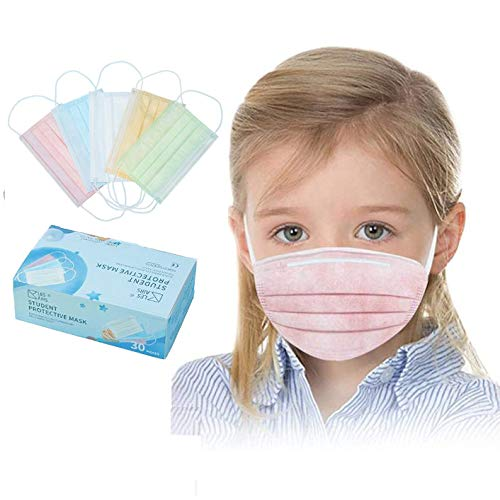 Gokeop 30pcs 3-Layer Disposable Másk for Children, Colorful Cute Pattern Face Scarf Health Protection Bandanas for Kids, 5 Random Colors (Pink, Blue, White, Yellow, Green)