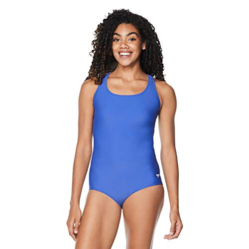 Speedo Women's Swimsuit One Piece PowerFlex Ultraback Solid, Royal Blue, 10