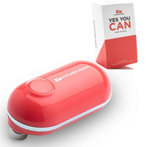 Kitchen Mama Mini Electric Can Opener: Open Cans with A Simple Push of Button - Smooth Edge, Food-Safe, Battery Operated and Mini Sized Can Opener (Red)