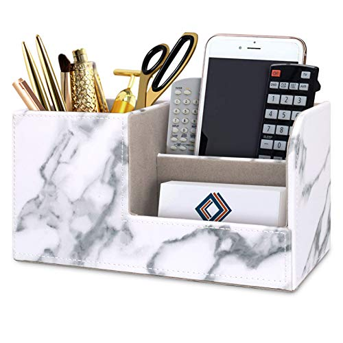 WAVEYU Marble Pen Pencil Holder, Multi-Functional Storage for Desk, Leather Organizer for Cell Phone, Business Name Cards, Remote Control, Durable Accessories Organizer for Home Office, White