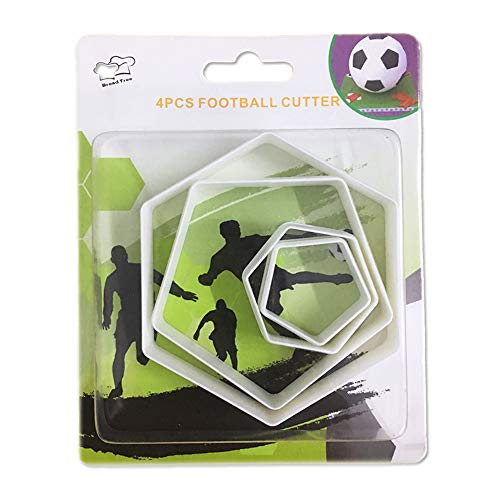 SAKOLLA Soccer Ball Cookie Cutter, Hexagon Cookie Cutter, Football Cake Decorations - 4 Sizes Biscuit Cutters/Sandwiches Cutter/Pastry Cutters