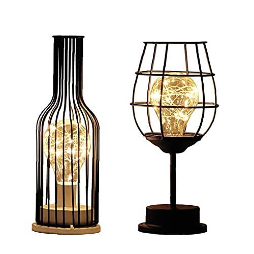 Copa del Escritorio del Led De La Lámpara De La Botella De Vino Mesa De Luz Industrial Metal Hierro Hogar Moderno Lámpara Decorativa De 2 Piezas