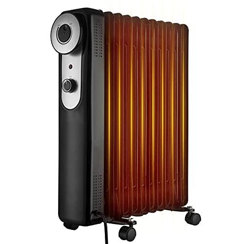 NONMON Oil Filled Radiator 2500W 11 Fin Portable Electric Heater with 3 Heat Settings Adjustable Thermostat, 2.5KW Overheat Protection Safety Cut Off Castor Wheels Heater Energy Efficient for Home