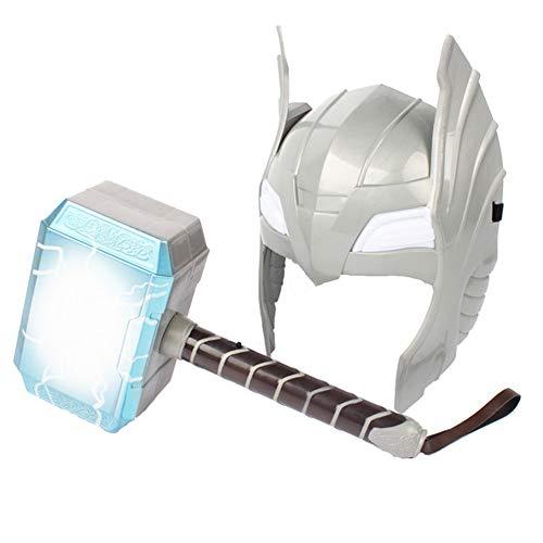 Juguetes martilloThor, PVC Martillo máscara Thor de Avengers Hero con luz y Sonido LED Arma utilería para Cosplay de Halloween de Martillo de truenos para niños 28 cm