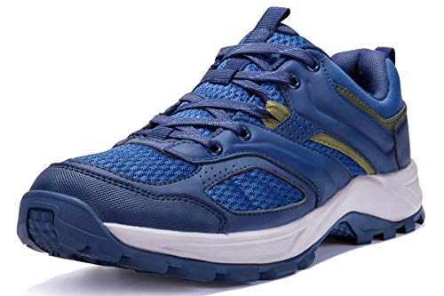CAMEL CROWN Hiking Shoes for Men Tennis Trail Running Backpacking Walking Shoes Comfortable Slip Resistant Sneakers Lightweight Athletic Trekking Low Top Boot Blue 9D(M)