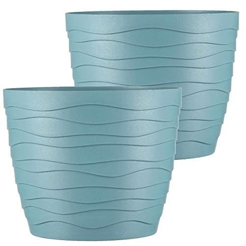 TYMAR Juego de 2 macetas, forma redonda, maceteros para interiores, de plástico, ligeros, con...