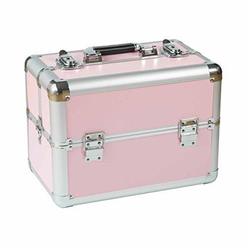 N&BF Profi Kosmetikkoffer klein Alu Friseurkoffer Schminkkoffer Multikoffer Nagelkoffer Beautycase abschließbar 2 Etagen + Fächer leer zum Aufklappen & Umhängen Rosa