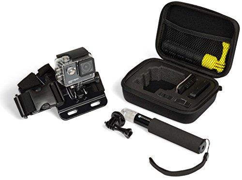 Kitvision Accessoireset voor actiecamera's met reisetui, transportkoffer, borstband houder en universeel handstatief monopod selfiestick uittrekbaar en vergrendelbaar - zwart