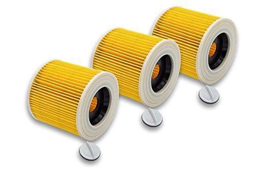 vhbw® Set de 3x Filtros de cartucho repuesto reemplaza Kärcher 6.414-552.0 para aspiradoras mojado - seco, aspiradora multiusos de Kärcher