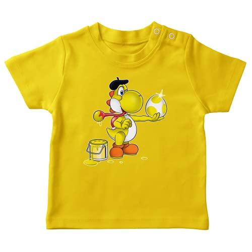 OKIWOKI Yoshi Lustiges Gelb Baby T-Shirt - gelb Yoshi (Yoshi Parodie signiert Hochwertiges T-shirt in Größe 12 monate - Ref : 546)