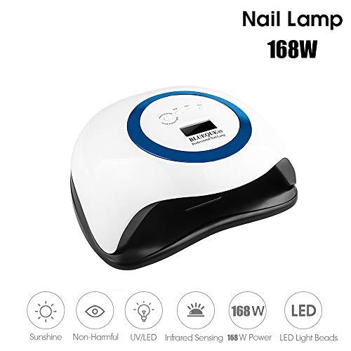 LWKBE LED 168W UV Nail Lampe avec 42 Pcs pour Manucure Gel LEDs Ongles séchants Nail Polish Lampe de détection Automatique de lumière en Quatre étapes Timing Amovible et Lavable Lampe Nail,Bleu