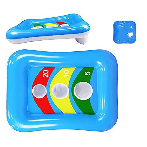 Juego de lanzamiento inflable para piscina, 1 bote inflable con 3 bolsas de agua, juego de juguete flotante para piscina para niños, adultos, verano, fiesta en la piscina al aire libre, playa