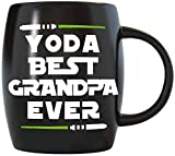 16 oz Yoda Best Grandpa Ever Fathers Day Gift for Grandpa Grandfather Dad From Granddaughter Grandson Grandkids Funny Gag Gift Ideas for Grampa Abuelo Christmas Birthday Novelty Coffee Mug - Black