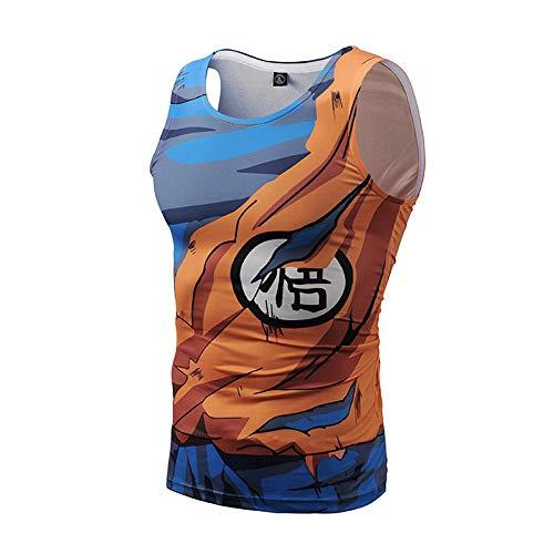 NIEWEI-YI Dragon Ball Canotta Uomo Palestra Tshirt Senza Maniche Divertenti Colorata 3D Stampa Canottiere per Uomo,M