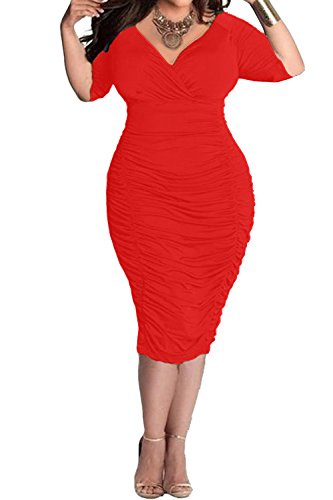 POSESHE Womens Plus Size Deep V Neck Wrap Ruched Waisted Bodycon Dress (L, Red)