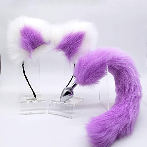 Inserte Plūg Tail y Cat Ear Crisantemo Juego de juguete Rộlplay Ejercicio Morado y blanco