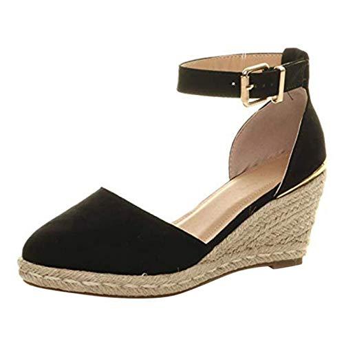 Zapatos Gruesos de Mujer, Alpargatas de cuña, Sandalias Informales, Primavera Verano, Calle, Correa de Tobillo, Hebilla, tacón Alto, Zapatos Suaves para Vestir