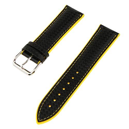 F Fityle Subacqueo Sportivo con Cinturino in Gomma da Polso da Uomo in Cinturino in Silicone da 18mm di Larghezza - Giallo