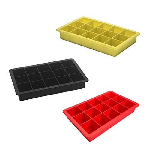 JOYKK 3 Stuks Siliconen Ice Cube Mold Vierkante Ice Cube lade met 15 Grids voor Chill Drinks Whiskey Jelly Pudding De Silicone Mold Keukengerei - Rood & Geel & Zwart