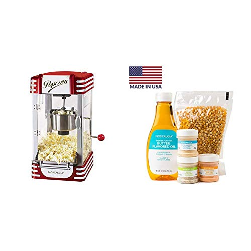 New Nostalgia RKP730 Retro 2.5-Ounce Tabletop Kettle Maker with Popcorn Kit