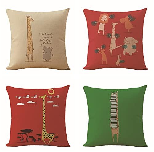 JOVEGSRVA Fundas de cojín cuadradas de lino con dibujos animados, para casa, oficina, coche, jardín, 45 x 45 cm, juego de 4 unidades