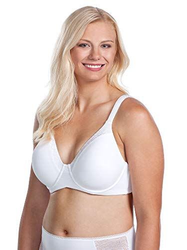 LEADING LADY Women's Plus Size Luxe Body T-Shirt Bra with Underwire Support, White, 2 Pack, 54F