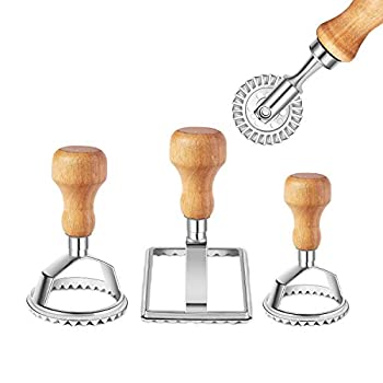 Ravioli Stamp Maker Cutter with Roller Wheel Set Mold with Wooden Handle and Fluted Edge Pasta Press Kitchen Attachment  3 Set and Cutter