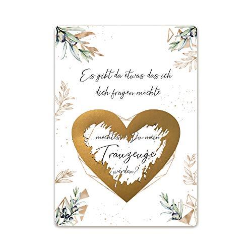 3er Set Rubbellos mit gold Herz für Trauzeuge Geschenk-Idee für Hochzeitsplanung Hochzeit Rubbel-Karte Post-Karten mit Umschlag