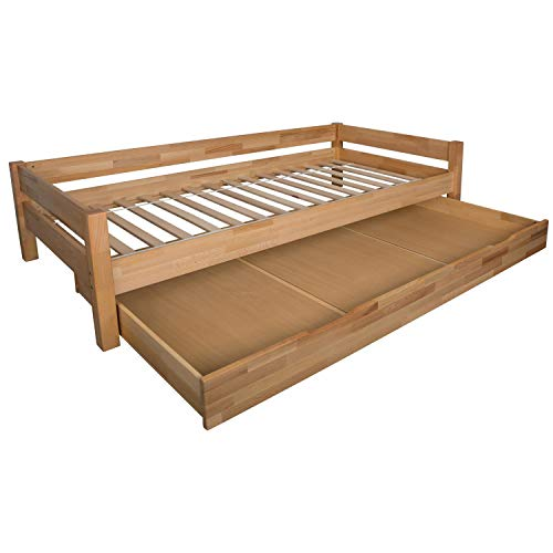 Bubema Duo Bett mit Bettkasten 90x200cm Buche massiv, Farbe Natur geölt, inkl. Rollrost