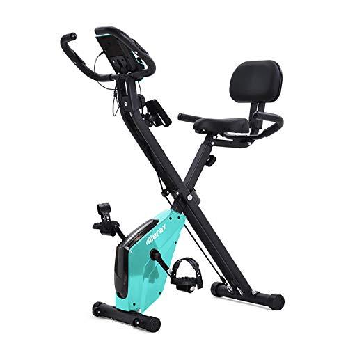 Bicicleta estática X-Bike con sensores de pulso, bicicleta de fitness para bicicleta estática, asiento acolchado y respaldo