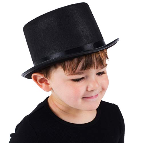 Funny Party Hats Top Hats for Little Kids - Toddler Black Felt Top Hat - Costume Top Hat for Children - Ringmaster - Magician - Lincoln Dress Up