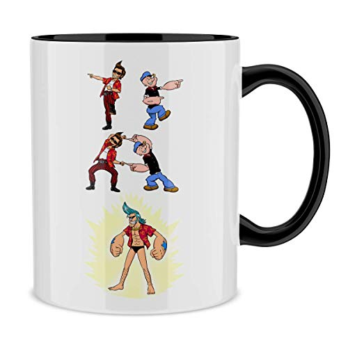 Mug avec anse et intérieur de couleur (Noir) - parodie One Piece - Popeye - Franky, Ace Ventura et Popeye - FUSION YAHAAAAA !!! (Super Splendide :) (Mug de qualité supérieure - imprimé en France)