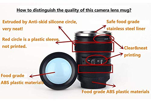 Camera Lens Coffee Mug,Comes with a Musical Note Spoon,Updated Version Sealed Lids,Insulated Stainless Steel Travel Thermos,Photographer Filmmaker Cup,Novelty Coffee Mugs for Music Lover,by POXIWIN