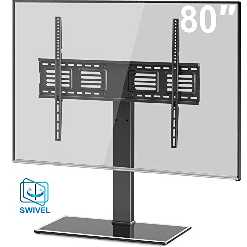 FITUEYES Universal TV Stand/Base Swivel Tabletop TV Stand with Mount for 50 to 80 inch Flat Screen TV 100 Degree Swivel, 4 Level Height Adjustable,Tempered Glass Base,Holds up to 143 lbs Screens