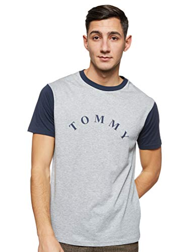 Tommy Hilfiger Herren Cn Ss Tee Logo Schlafanzugoberteil, Grau, X-Large (Herstellergröße:)