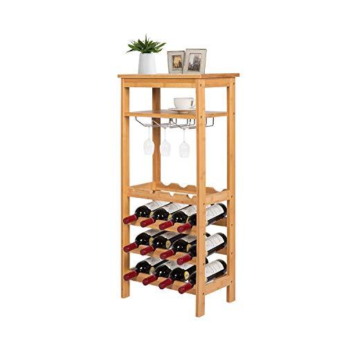 Kinsuite 16 Bottles Bamboo Wine Rack 4-Tire Free Standing Holder Storage Display Shelf with Glass Hanger&Shelf Great for Bar Kitchen Living Room Wine Cellar, Natural Bamboo
