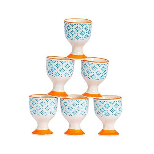 Nicola Spring Coquetiers en Porcelaine - à Motif Bleu/Orange - Lot de 6