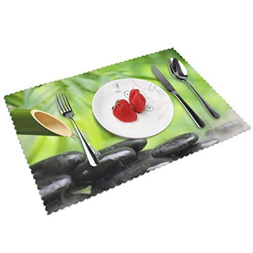 GHRSGBHST Durable Juego de 4 manteles individuales lavables de 30 x 45 cm, antideslizantes, resistentes al calor, para cocina, comedor, fiesta, decoración del hogar, piedra zen, color negro, verde