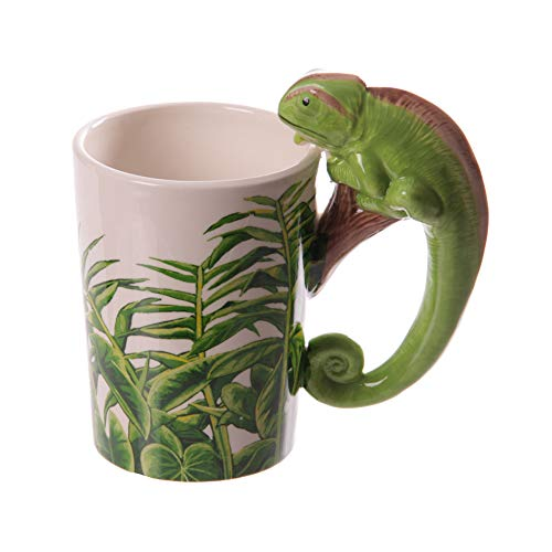 ACYOUNG 3D Keramik Kaffeetassen, Becher mit Tier Griff, Kreativer Lustiger Geschenk-Becher (Eidechse)