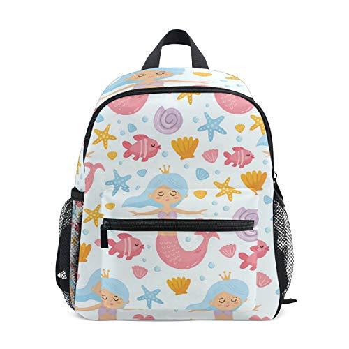 OREZI Kids Backpacks, Cute Mermaid Starfish Schoolbags for Kindergarten Preschool Toddler Boys/Girls Bookbag Children School Backpack