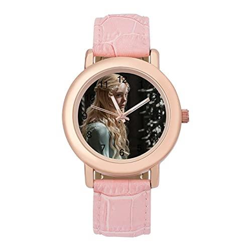 MaleficentLadies Reloj de cuarzo de cuero con correa 2266 espejo de cristal redondo rosa accesorios casuales moda temperamento 1.5 pulgadas
