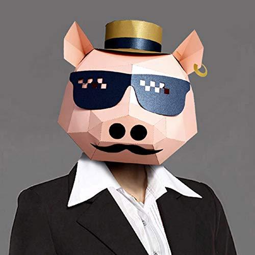 YHX Mscara de Cerdo Fresca, Disfraz Divertido para la Fiesta, mscara de Cerdo de Papel con Gafas de Sol